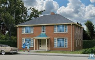 Walthers 3781 Four-Unit Brick Apartment Building