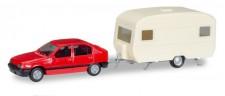 Herpa 013420 Minikit Opel Kadett E mit Wohnwagen