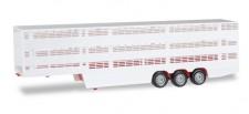 Herpa 076333-002 Viehtransport Auflieger weiß/rot