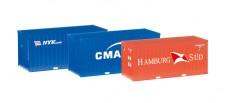Herpa 076432-002 3x 20ft Container NYK, CMA/CGM, Hamburg