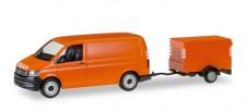Herpa 093071 VW T6 Kasten mit Planen-Anhänger orange