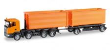 Herpa 306041 Scania R09 Abrollmulden-HZ orange