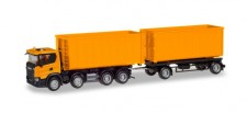 Herpa 309950 Scania CG17 8x4 Abrollmulden-HZ orange