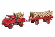 Schuco 450312900 MB Unimog 411 m. Anhänger Holzladung