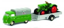 Schuco 450563400 Piccolo: VW T1 Bus mit Hg. & Traktor