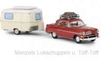 Brekina 20871 Opel Kapitän mit Dachgepäck &Wohnwg.