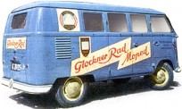 Brekina 31563 VW T1/2b Bus Glockner Rad Moped