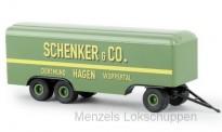 """Brekina 55291 # 2-achs Kofferanhänger in rot-schwarz /"""" Feuerwehr /"""" 1:87 NEU !!"""