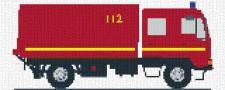 mini Pixel 10005 Fertigbild Feuerwehrauto (66,6 x 26,6cm)