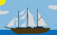 mini Pixel 10010 Fertigbild Segelschiff (53,2 x 33,3cm)