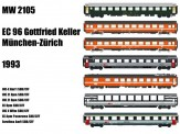 LS Models MW2105 SBB Reisezugwagen-Set EC 96 7-tlg Ep.5