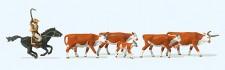 Preiser 10159 Langhornrinder, Cowby zu Pferd