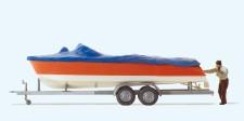 Preiser 33255 Motorboot beim Verladen auf Anhänger