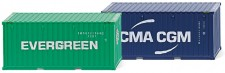 Wiking 001814 2x20ft Container Evergreen/CMA