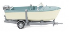 Wiking 009502 Motorboot a. Anhänger pastelltürkis