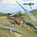 Busch Autos 01155 Anhänger m. Segelflugzeug blau
