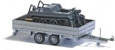 Busch Autos 59959 Transport-Anhänger mit Kettenkrad