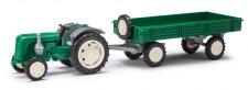 Busch Mehlhose 210007000 Famulus Traktor mit Anhänger grün