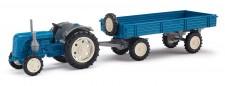 Busch Mehlhose 210007100 Traktor Famulus mit Anhänger blau