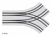 Tillig 87156 Bogenkreuzung Pflastersteine 2-spurig
