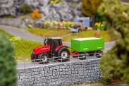 Faller 161588 MF Traktor mit Hackschnitzel-Anhänger