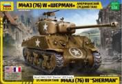 Zvezda 003676 US Medium Tank M4A3 (76)W Sherman