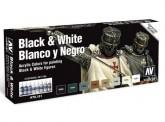 Vallejo 70151 Set: Schwarz & Weiß, 8 x 17 ml
