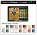 Vallejo 71191 Set: Eisenbahn-Farben, 16 x 17 ml