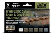 Vallejo 71623 Farbset: WWII USMC, Grün & Grau 6x17ml