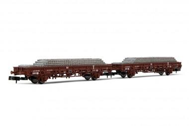Arnold HN6543 SNCF Flachwagen-Set 2-tlg beladen Ep.5