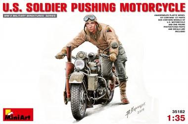 MiniArt 35182 U.S. Soldier Pushing Motorcycle