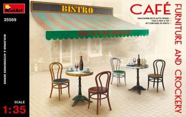MiniArt 35569 Cafe Möbel und Geschirr