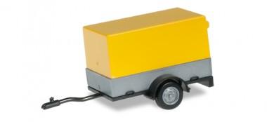 Herpa 051576-002 Pkw Anhänger m. offener Plane gelb