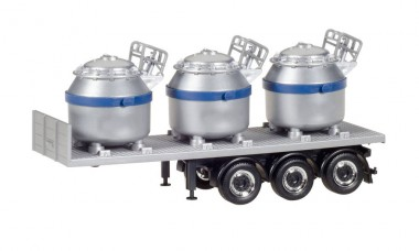 Herpa 076838-002 Auflieger m. 3 Aluminiumtiegeln, Blau