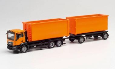 Herpa 311380 MAN TGX NN Abrollmulden-HZ orange