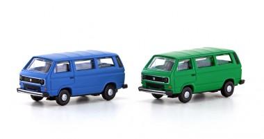Lemke Minis 4330 VW T3 Bus blau + grün 2er Set