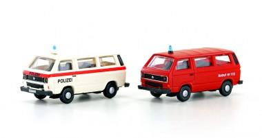 Lemke Minis 4335 VW T3 Bus Polizei & Feuerwehr 2-tlg Set