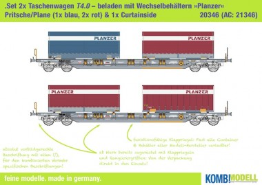 Kombimodell 20346.01 Hupac SBB Taschenwagen-Set 2-tlg Ep.5
