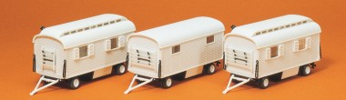 Preiser 20005 Wohnwagen ohne Beschriftung. 3 Stück.