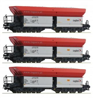 Roco 67154 Logserv 3-tlg. Set: Selbstentladewagen