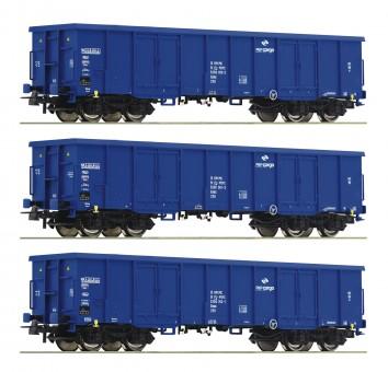Roco 76128 PKP offene Güterwagen-Set 3-tlg. Ep.6