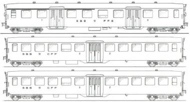MW-Modell N-CH-220a SBB Personenwagen-Set 3-tlg Ep.3