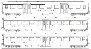 MW-Modell N-CH-220c SBB Personenwagen-Set 3-tlg Ep.4