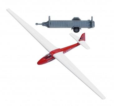Busch 1154 Anhänger m. Segelflugzeug rot