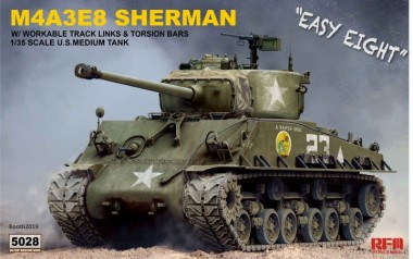 Rye Field Model RM-5028 Sherman M4A3E8 w/ workable track links