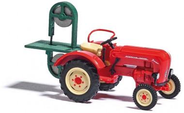 Busch Autos 50011 Porsche Traktor Junior m. Baumsäge