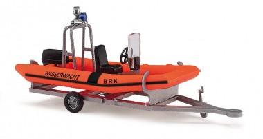 Busch Autos 59957 Anhänger mit Motorboot BRK-Wasserwacht