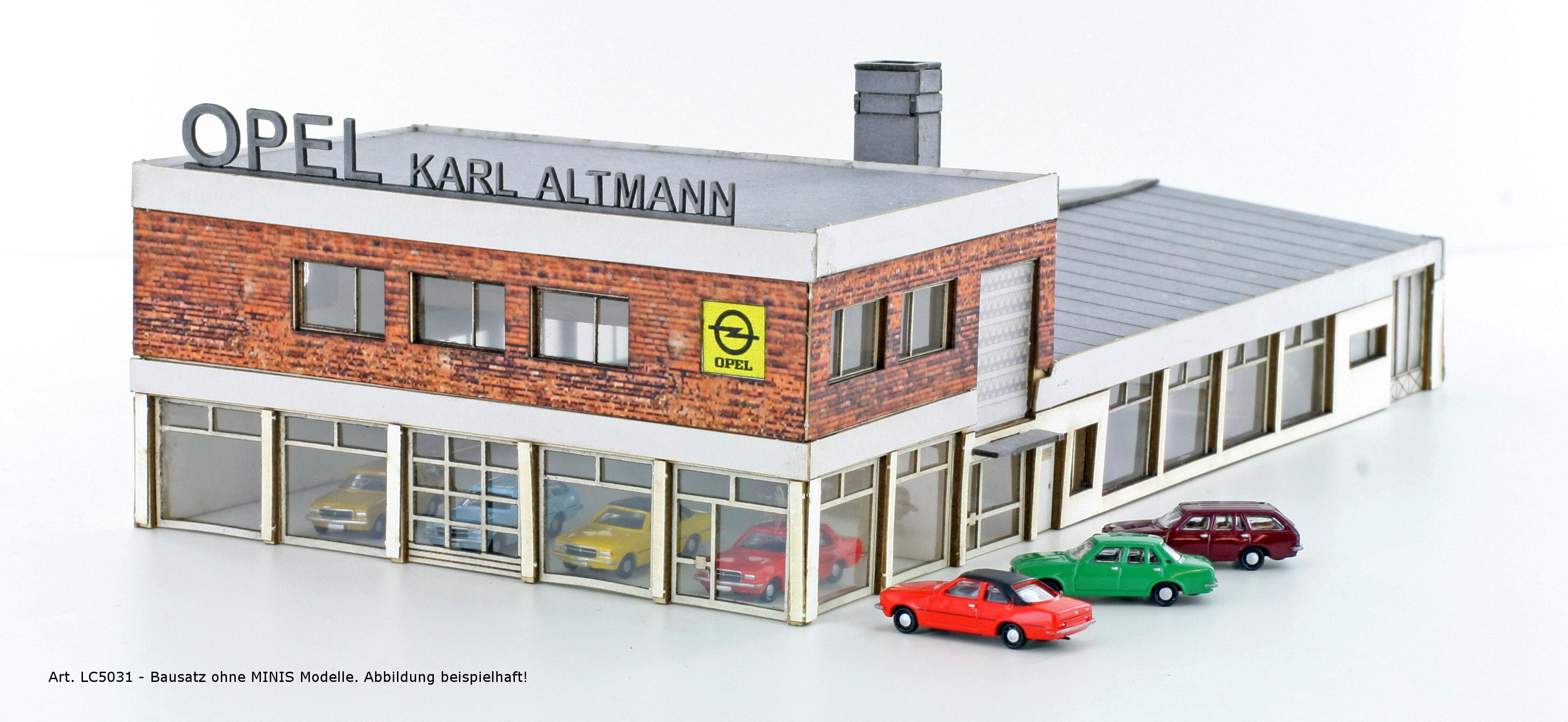 lemke minis 5031 opel autohaus inkl 4x opel rekord menzels lokschuppen onlineshop. Black Bedroom Furniture Sets. Home Design Ideas